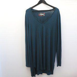 PURE + GOOD Long Sleeve Burnout Dress Teal